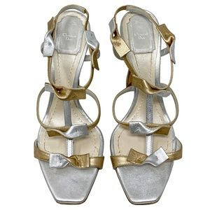 Dior Doll Metallic Bow Strappy Leather Sandals